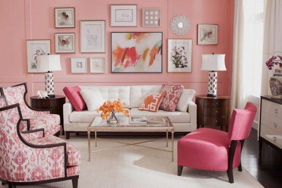 Không gian nội thất với màu mây hồng làm chủ đạo
