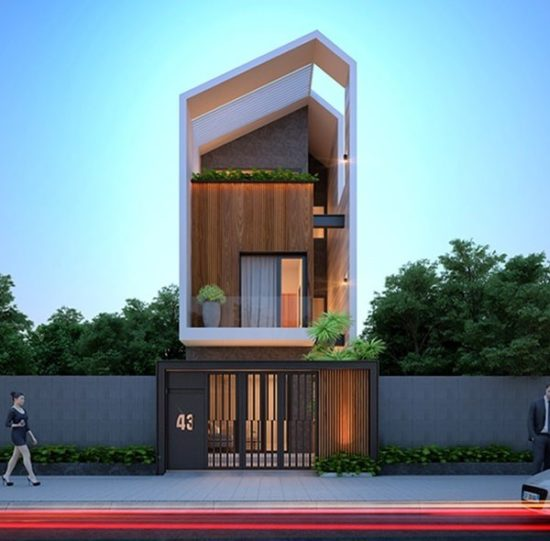 Mẫu nhà phố 3 tầng với mái lệch ấn tượng