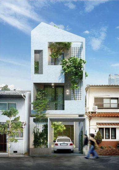 Nhà phố 3 tầng với không gian xanh