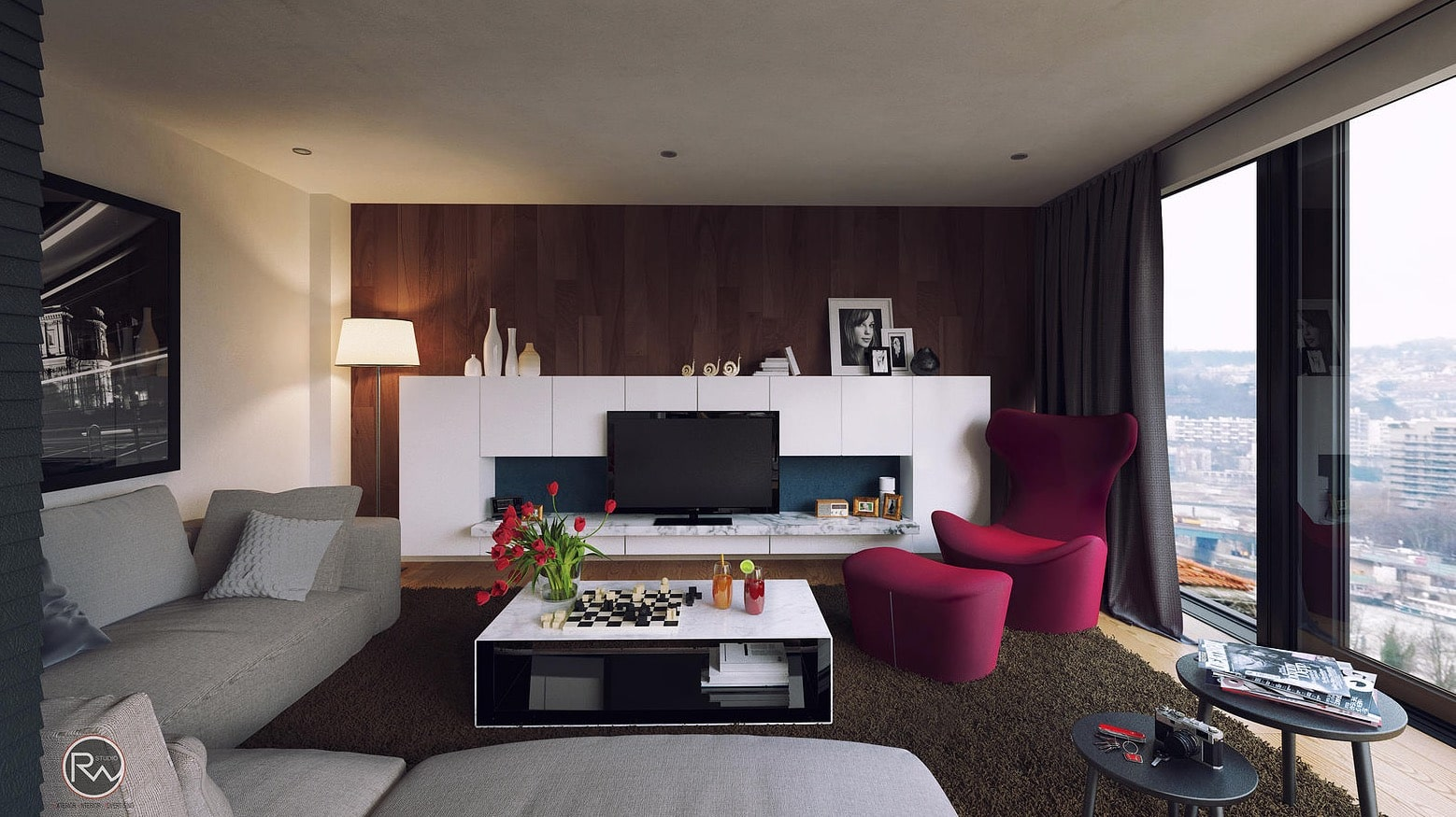 Ốp gỗ cho tường phòng khách