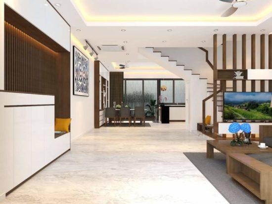 Phòng bếp và phòng khách được thiết kế liền kề