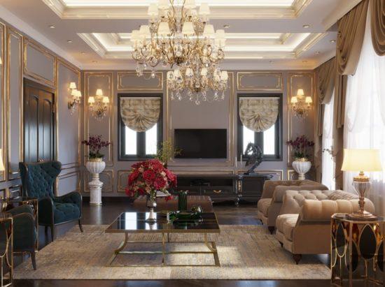 Phòng khách biệt thự theo phong cách cổ điển