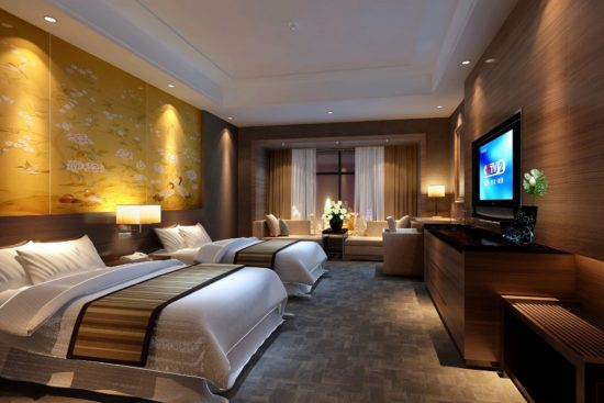 Phòng ngủ khách sạn đôi với giường đôi rộng rãi, sang trọng