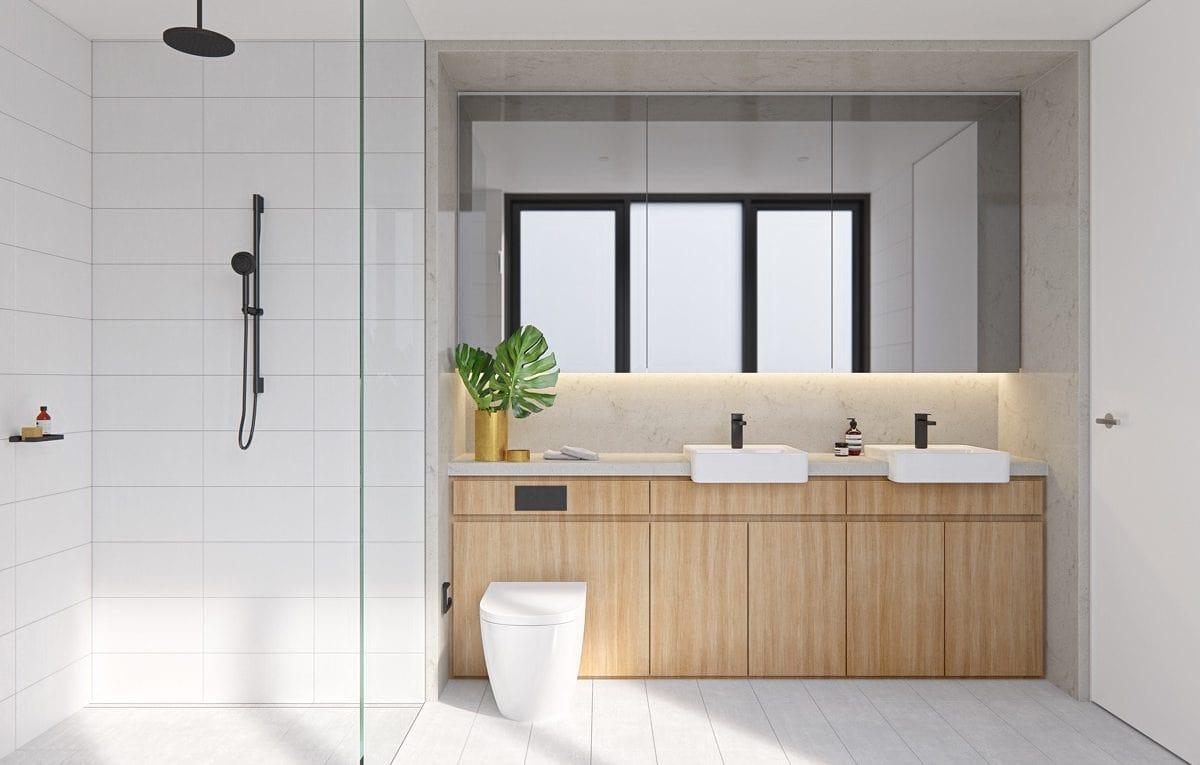 Sự tối giản trong nội thất cho phòng tắm rộng rãi hơn