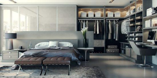 Thiết kế phòng thay đồ trong phòng ngủ phong cách mở