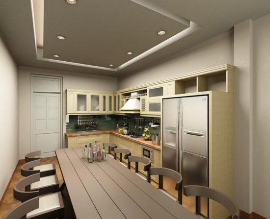 Trần thạch cao phòng bếp nên chọn lựa các màu sáng
