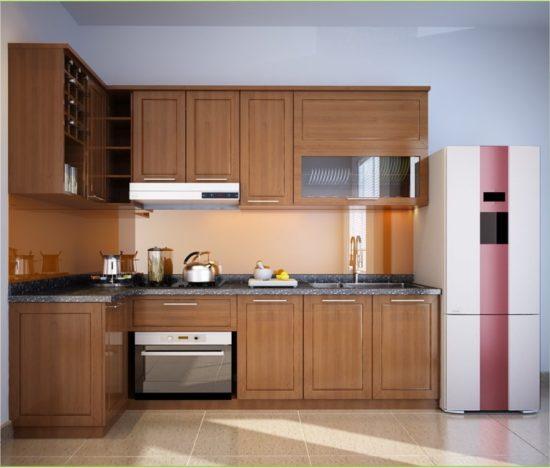 Tủ bếp chung cư bằng chất liệu gỗ tự nhiên