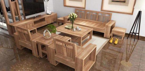 Tùy thuộc vào không gian phòng khách để lựa chọn, kiểu dáng, kích thước bộ bàn ghế gỗ